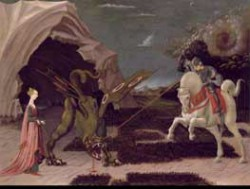 UCCELLO, Paolo Saint George and the Dragon Tempera on canvas 56.5 x 74 cm National Gallery, London
