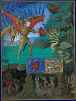 Saint Michel combattant le dragon.  Heures d'Etienne Chevalier, enluminees par Jean Fouquet.  Londres, Upton House, Collection Lord Bearsted, Cat. n°184