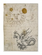 Дюрер.<br />The sun, the moon and a basilisk, illustration in an autograph manuscript written by Wilibald Pirckheimer (c.1512/13). 1507-19<br />Pen and black and brown ink